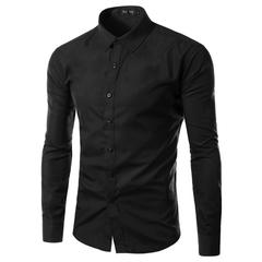 New 2019 Solid Plus Size Slim Fit Cotton Men Dress Shirts Long sleeve Mens Casual Social black m(50kg-58kg)