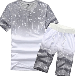 Fashion  Men Round Neck Short Sleeve Shorts Set T-shirt and Trousers  2-Piece Set gray m