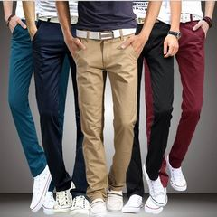 New Casual Pants Men Cotton Slim Fit Chinos Fashion Trousers Male Clothing gray s