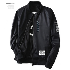 Fashion Fashion Wind Breaker Men Jacket With Patches Both Side Wear Thin Bomber Jacket Coat black m