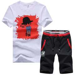 Fashion Men Round Neck Short Sleeve Shorts Set T-Shirt and Trousers Cotton  2-Piece Set 01 s