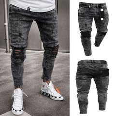 Luck Men hole jeans stretch denim  slim pants black s