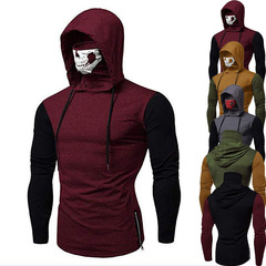 Men clothes fashion hoodies cool skull masked long-sleeved T-shirt wine red 3xl