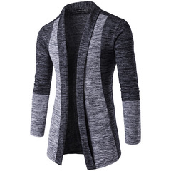 Men clothes men fashion stitching contrast color sweater long-sleeved men cardigan dark gray m