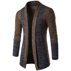 Men clothes men fashion stitching contrast color sweater long-sleeved men cardigan coffee xxl