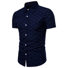 New men casual shirt youth men personality anchor printing comfortable short-sleeved shirt cardigan 01 m