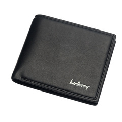 Men short casual wallet  cross section ultra-thin soft wallet spot driving license black/cross 11.3 cm *9.8 cm * 1.5cm