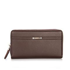Men Handbags Casual Business Double Zipper Clutch Large Capacity Wallet Clutch coffee 20.5 cm * 11.5 cm * 4.5 cm