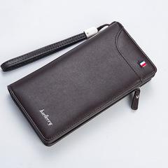 Men Wallet Men Long Zip Wallet Business Multifunction Clutch bag coffee 19.8 cm * 10.5 cm * 2.8 cm