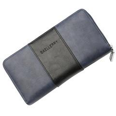 Men wallet business anti-magnetic large capacity long hand bag multi-function zipper RFID handbag blue 21.0 cm * 11.0 cm * 3.5 cm