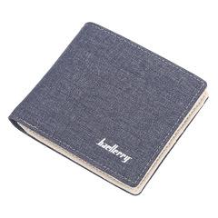 Canvas short mini wallet retro student zipper wallet men casual wallet blue 11.0 cm * 9.5 cm * 1.5 cm