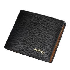 Men's short wallet crocodile pattern multi-card wallet business thin wallet black 12.0 cm * 10.0 cm * 2.0 cm