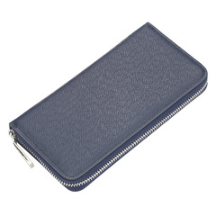 New casual men wallet long zipper ladies handbag cross pattern clutch bag blue 20.0 cm * 10.0 cm * 2.5 cm