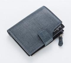 New wallet men short large capacity casual wallet multi-function zipper wallet blue 12.0 cm * 10.0 cm * 1.5 cm