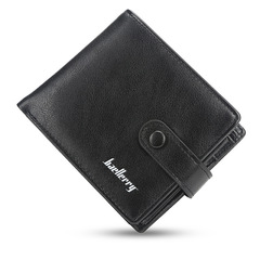 Men short wallet  multi-card position buckle cross section purse fashion casual soft wallet black 12.0 cm * 9.5 cm * 2.0 cm