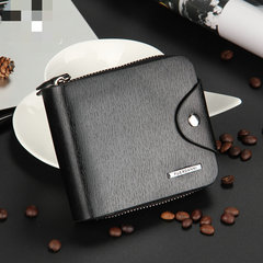 New men buckle wallet fashion zipper short bag multi-function card pack coin purse black/cross as picture