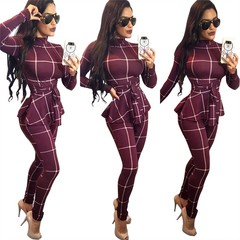 MSIN New Arrival Women's Suit Casual Plaid Jumpsuit With Belt