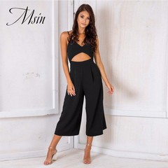 MSIN 2018 New Fashion Women Sexy Hollow Braces Pocket Zipper Backless V-Neck Wide Leg Jumpsuits