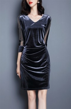 MSIN Large size women dresses body slimming cropped sleeves stitching gold velvet dress