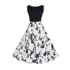 MSIN Women's Europe and America women dress sleeveless stitching print dress retro big swing skirt