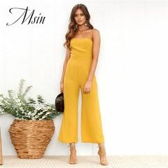 MSIN 2018 New Fashion Women Sexy Braces Backless Horizontal Naghetti Strap Straight Jumpsuits