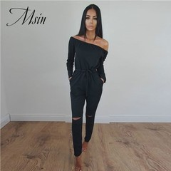 MSIN 2018 New Fashion Women Sexy Lace Strapless Horizontal Neck High Waist Sheath Long Jumpsuits