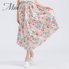 MSIN 2018 New Fashion Women Cotton&Jute Casual Over knee Skirts