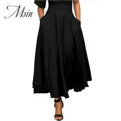 MSIN 2018 New Fashion Women Casual  Lace Pocket  Pure High Waist Long Pleated Skirts