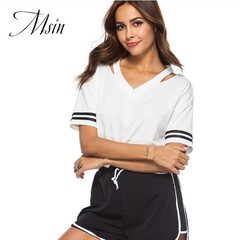 MSIN 2018 New Fashion Women Casual Short sleeve white T-shirt black shorts suits