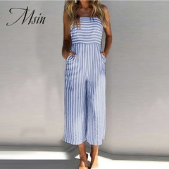 MSIN 2018 New Fashion Women Stripes With Chest Strap  Wide-Legged Pants Jumpsuits