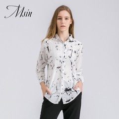 MSIN 2018 New Fashion Women Lapel Long Sleeved Casual Shirt white&black s