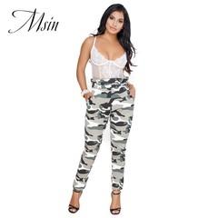 MSIN 2018 New Fashion Women  Elastic High waist Printing Wrinkle Casual Street Pencil  trousers