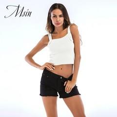 MSIN 2018  Women   Beading Horizontal Neck Sleeveless Shoulder straps Custom Sexy Top