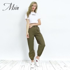 MSIN 2018 New Fashion Women Overall Chain Pocket  High Waist Ankle-Length Loose Casual  trousers
