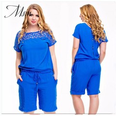 MSIN 2018 New Fashion Women Cotton Pure Lace Pocket Mid-Calf Length O-Neck  Casual Jumpsuits