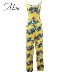 MSIN 2018 New Fashion Women Cotton Brace Lace Print Off the shoulder Sleeveless Sexy Jumpsuits