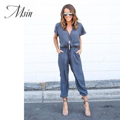 MSIN 2018 New Fashion Women Cotton Lace Pure Ankle-Length V-Neck  Sexy Casual Loose Jumpsuit