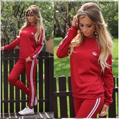 MSIN 2018 New Fashion Women Cotton Sportive Stripe Elastic Pure O-Neck Long top and Pant Separates
