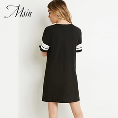 MSIN 2018 New Fashion Women Patchwork Pullover Short Sleeve O-Neck Above knee Casual  A-Line Dress black s