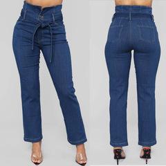 MSIN Women  high waist stretch casual straight jeans dark blue 3xl
