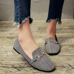 New Single Shoes Women's flat Low-heeled Plaid comfortable fashion a pedal women's shoes tide
