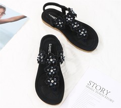 SOHI Summer new arrival flat sandals flowers bohemian large size women's shoes