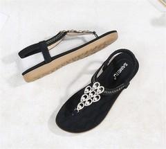 SOHI Summer new flat bottom bohemian rhinestones large size women's sandals welcome wholesale