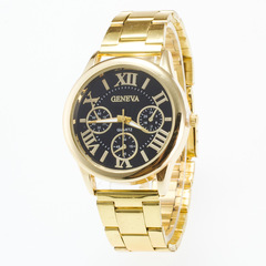 Golden Round Case Rome Digital Calibration Surface Steel Band Watch for Men black