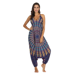 C2UG 2019 Long Bodysuit Bohemian Jumpsuits Vintage Print Women Strap Backless Holiday Beach Playsuit 01 One size