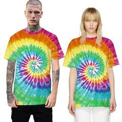 C2UG 2019 New Fashion Tie Dye Printed Women/Men T-Shirt Hip Hop Round Neck Streetwear Top 01 01 xs