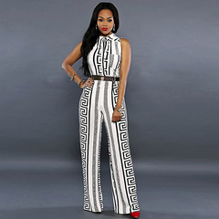 C2UG 2019 Fashion Wide Leg Jumpsuit Overalls Long Trousers Women Romper Print Ladies Playsuits Dress white s