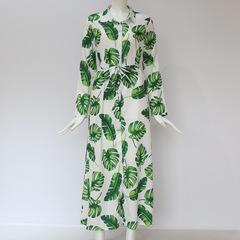 C2UG 2019 Bohemian Printed Floral Casual V-Neck Long Sleeve Empire Women Dress Chiffon A-Line Ladies green s