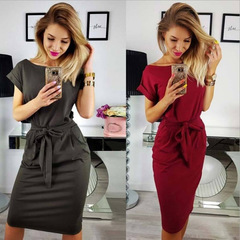 C2UG 2019 Women's Sheath Dress Casual O-Neck Short Sleeve Slim Pocket Belt Sexy Bodycon Club 010039 wine red s