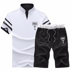 Men's Leisure Sports Suit  Two-piece Fashion Suit include tshirts and pants white l